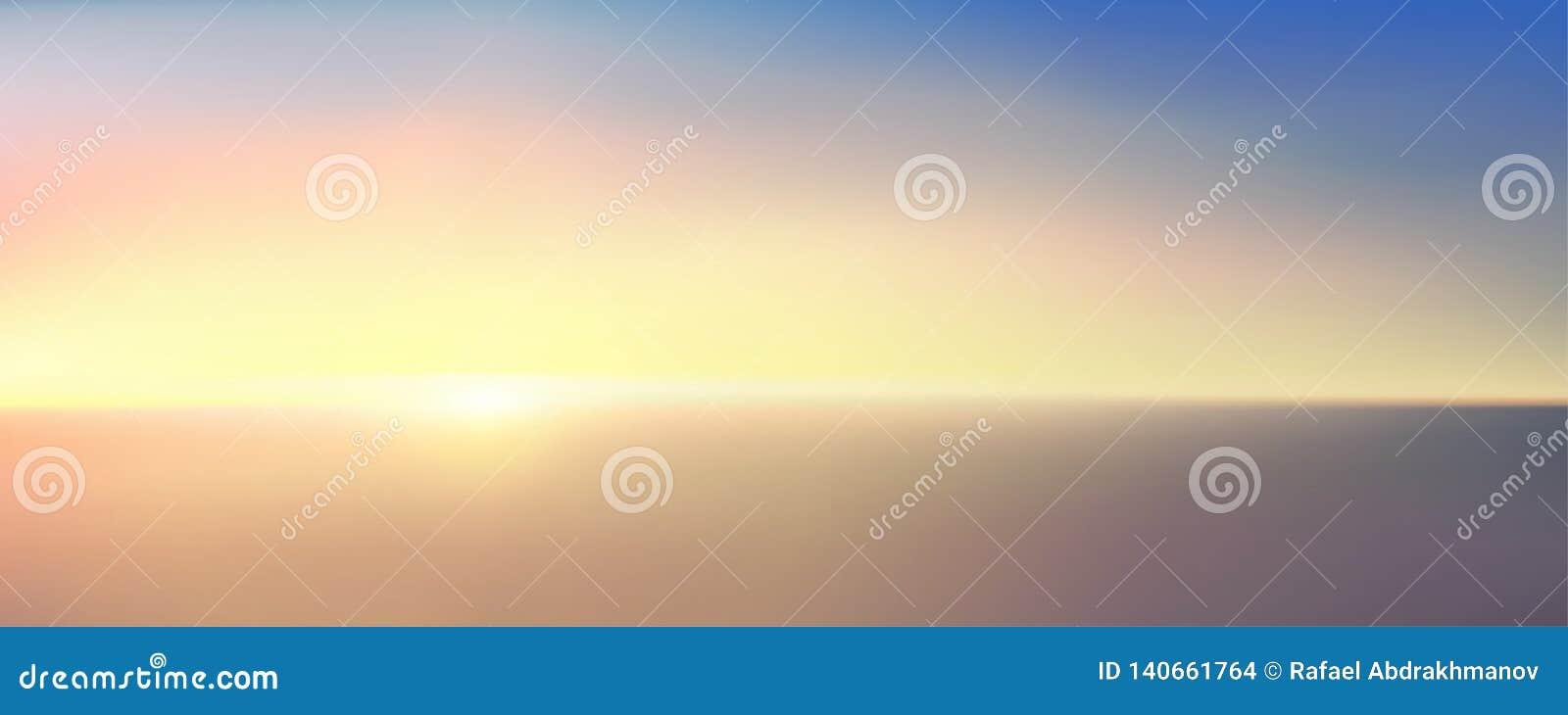 Abstract luchtpanorama van zonsopgang over oceaan Niets dan blauwe heldere hemel en diep donker water Mooie rustige scène
