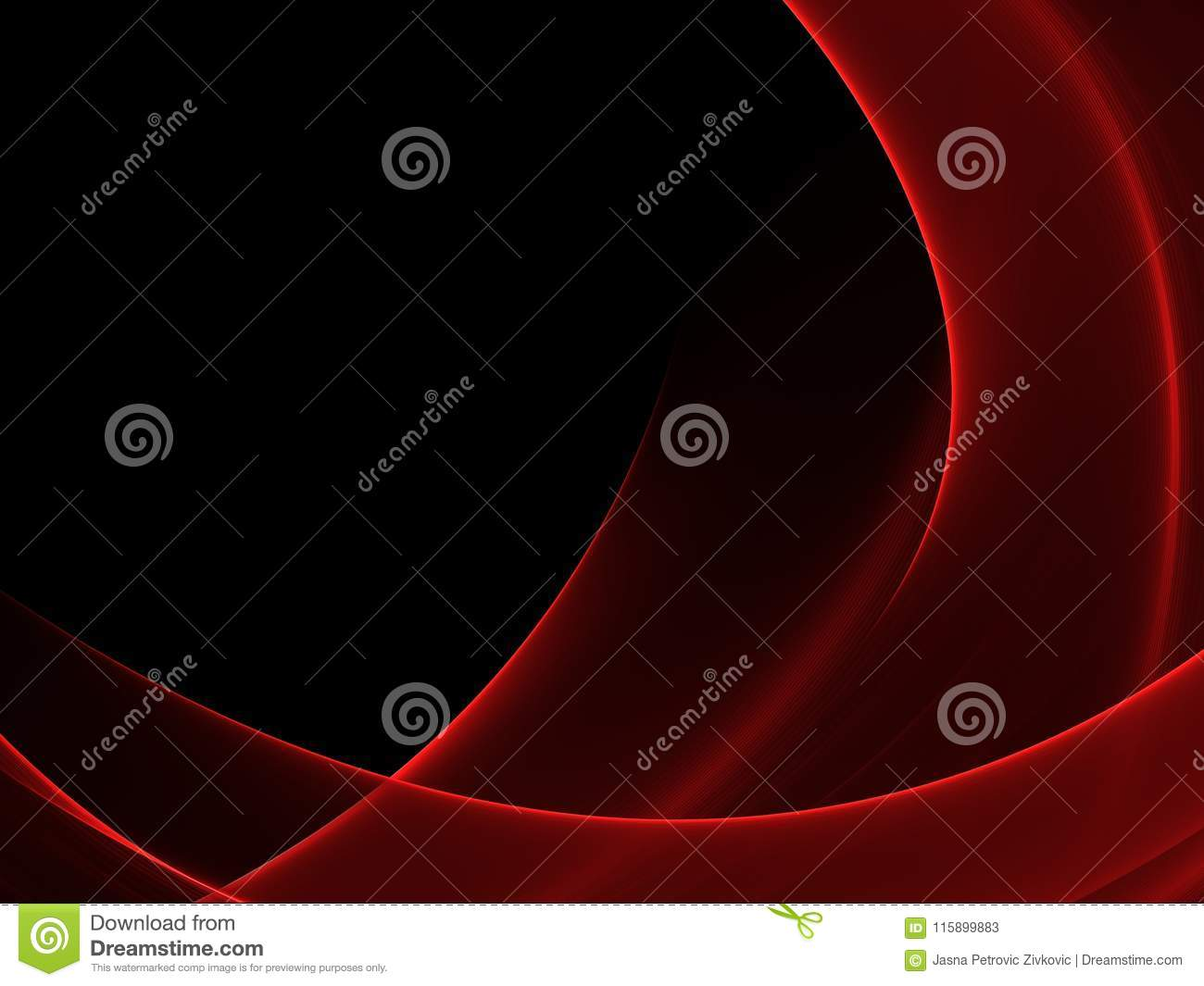 Abstract Luminous Red And Black Background Stock Illustration