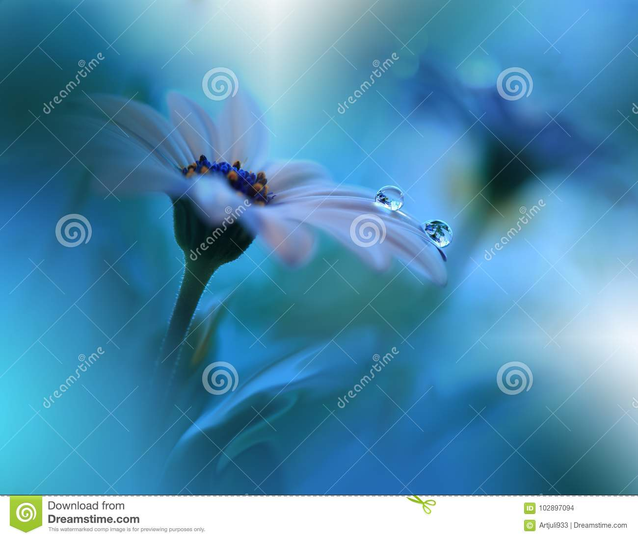 Beautiful Blue Nature Background.Spring Flowers.Ocean Concept,water.Tranquil Abstract Closeup Art Photography.Floral Design.Plant.