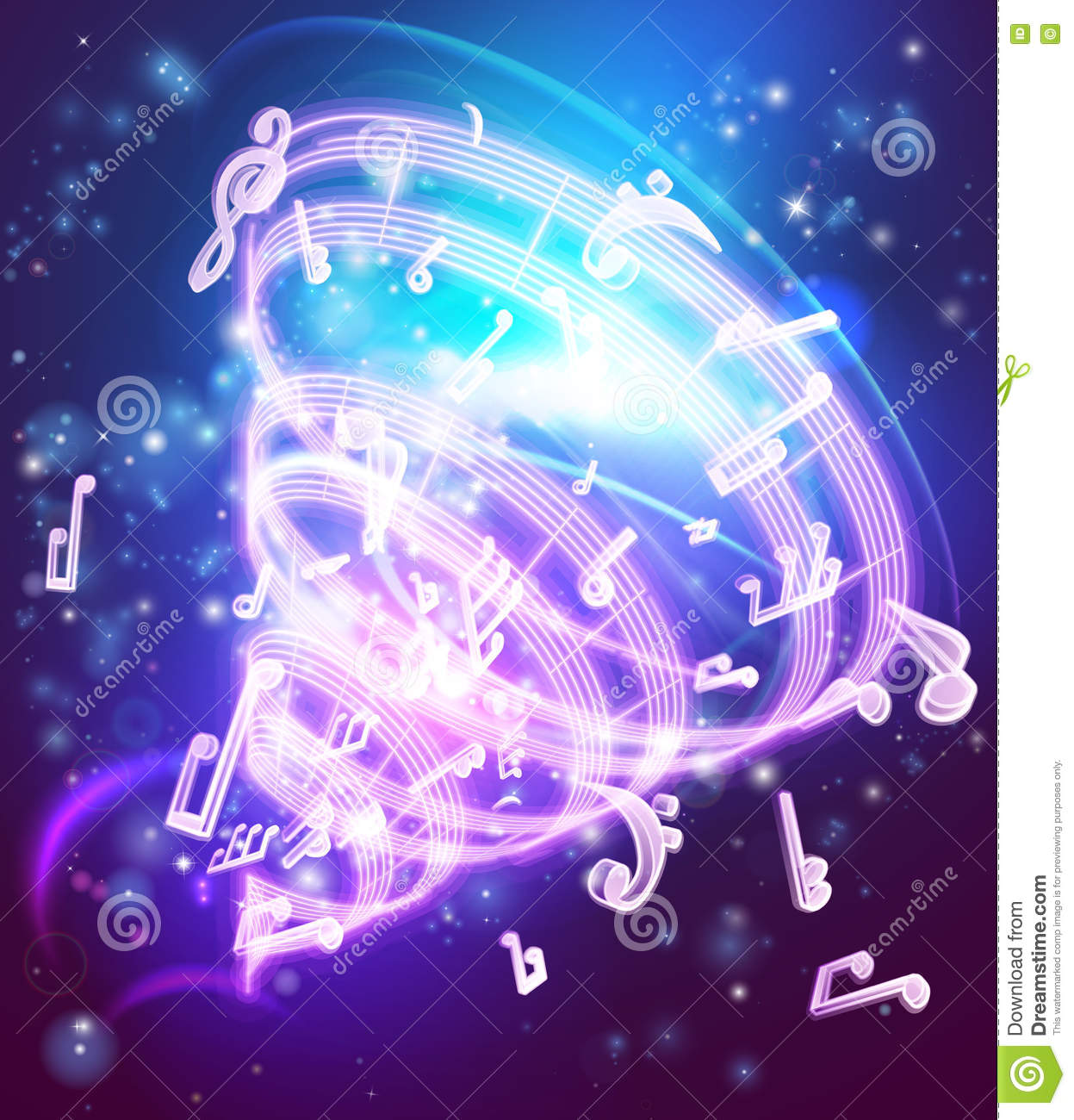 Abstract Magic Music Musical Notes Background Stock Vector