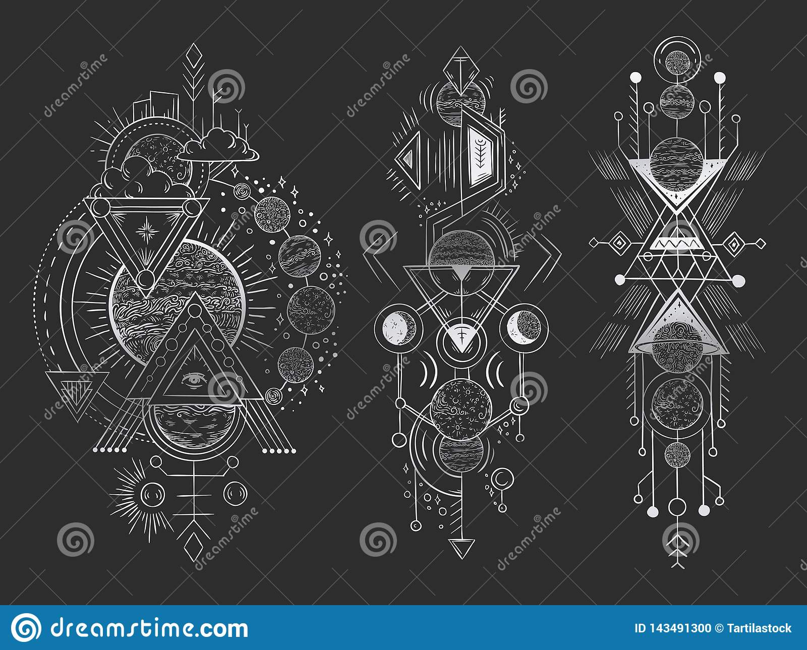 Abstract magical tattoo. Sacred geometric moon, mystic revelation arrows lines and mysticism harmony hand drawn vector