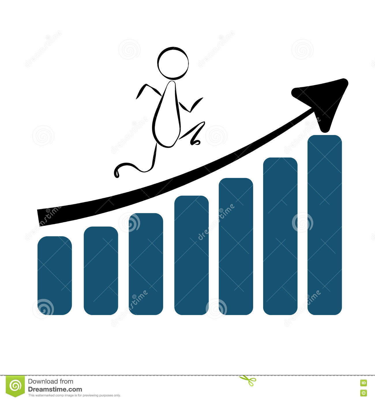 abstract man quickly moves on the growing diagram bars towards his business  success and wealth  vector illustration