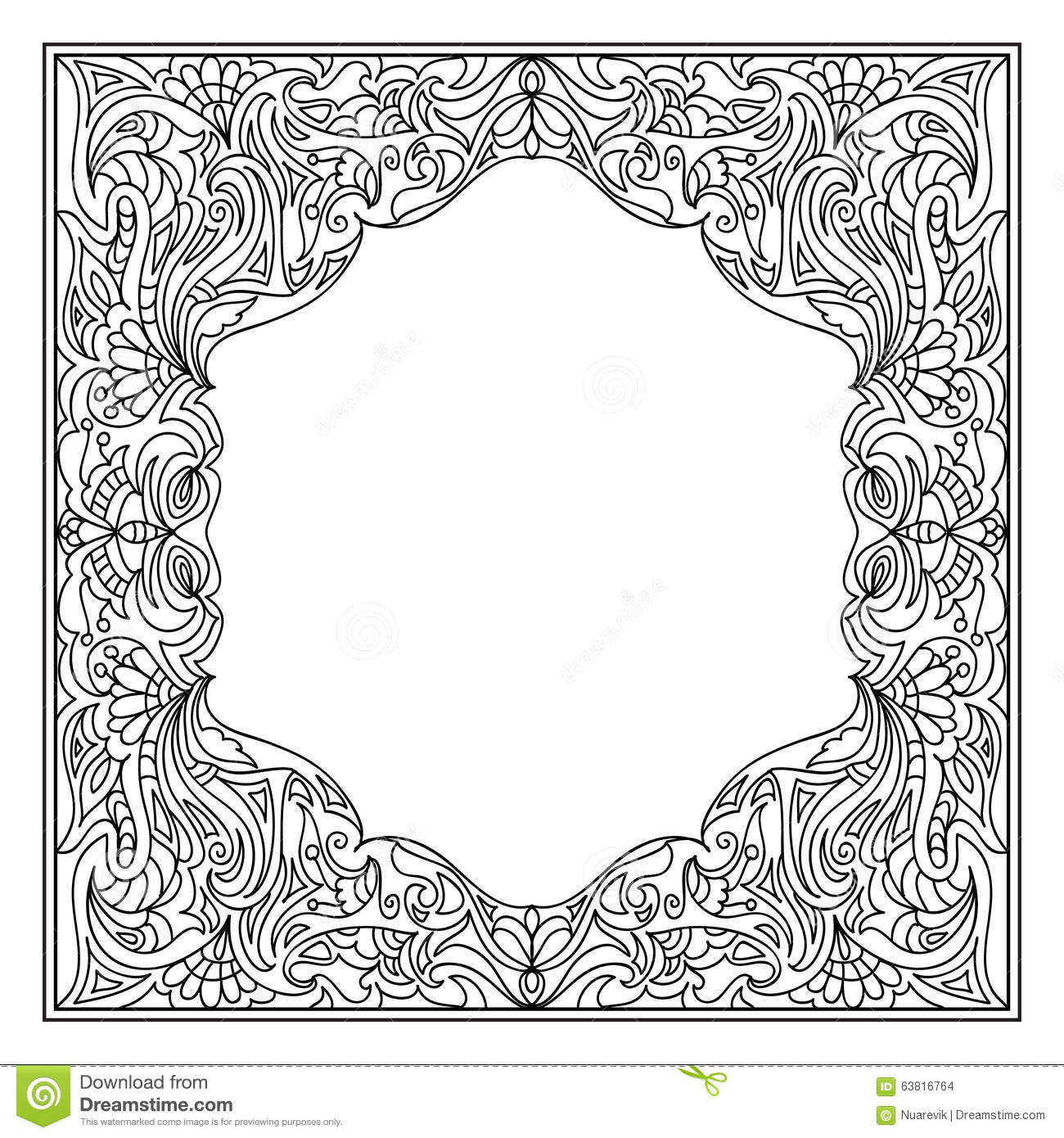 Clip Art Frame Coloring Page abstract mandala frame coloring page stock illustration image page