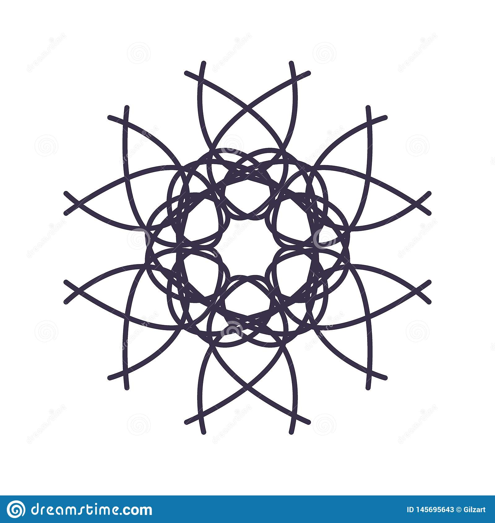Abstract Mandala Geometry Outline for decoration or tattoo