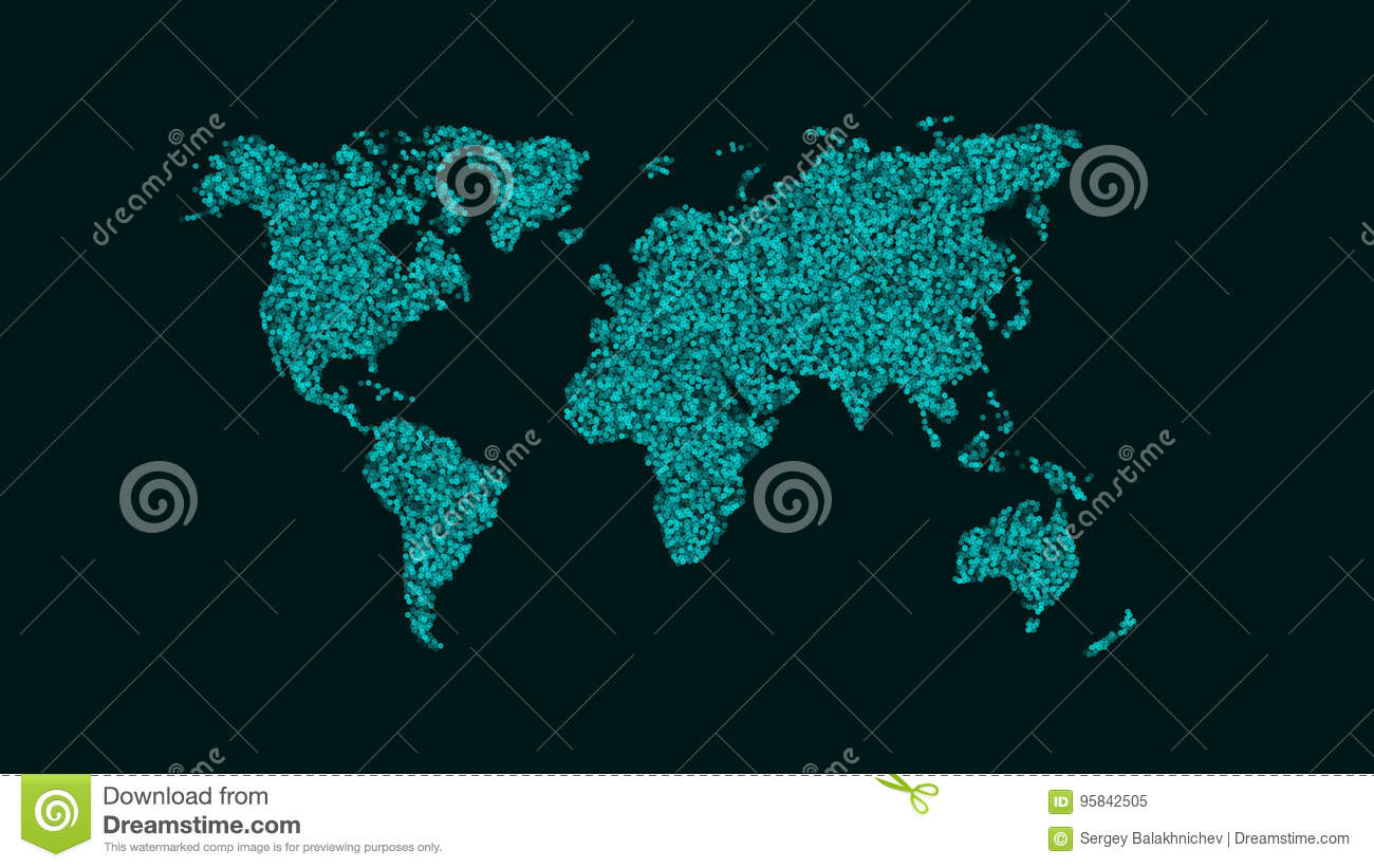 Abstract Map Of The PlaEarth. A Map Of Small Round Particles
