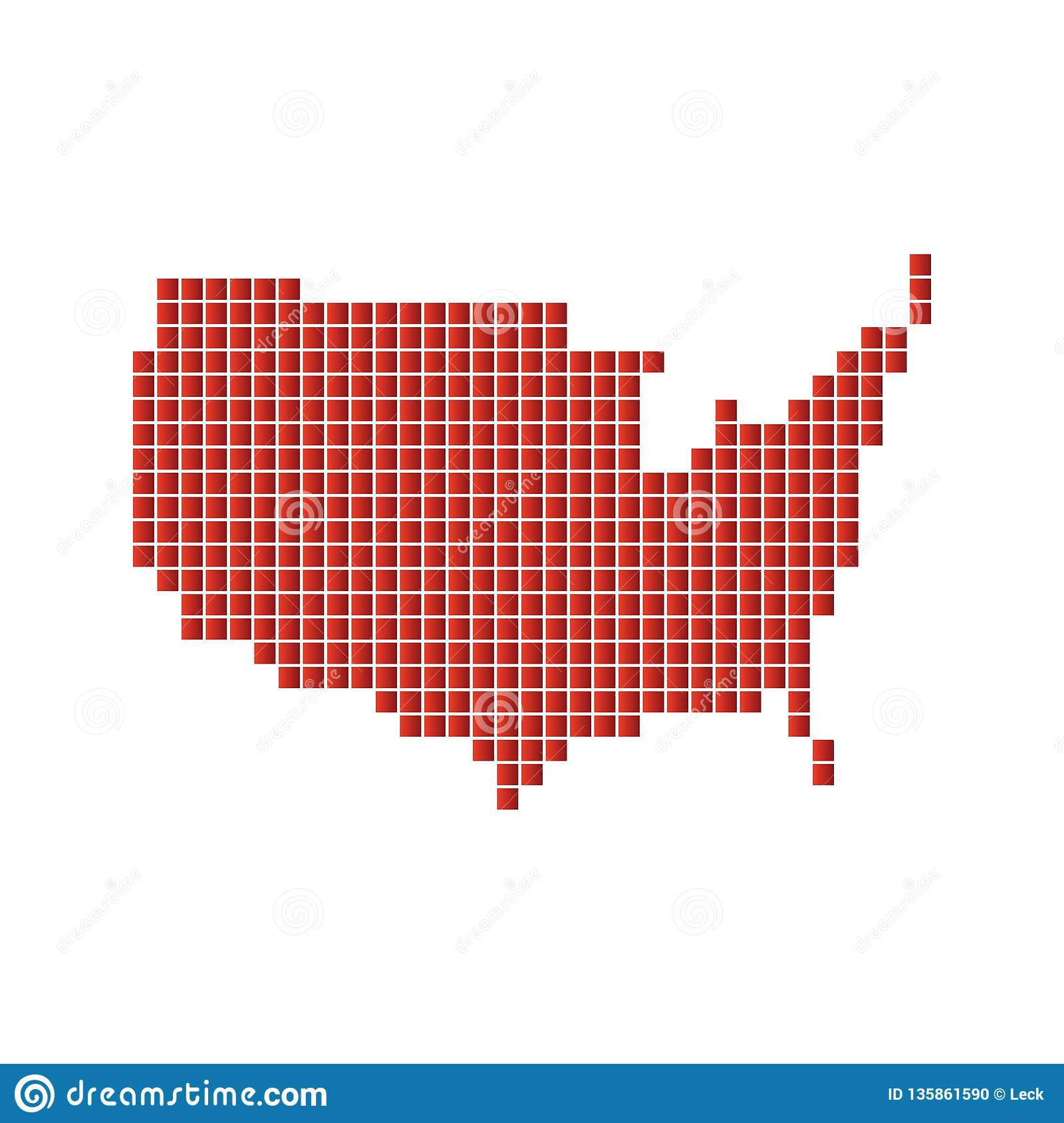 Vector US Map stock vector. Illustration of graphic - 135861590