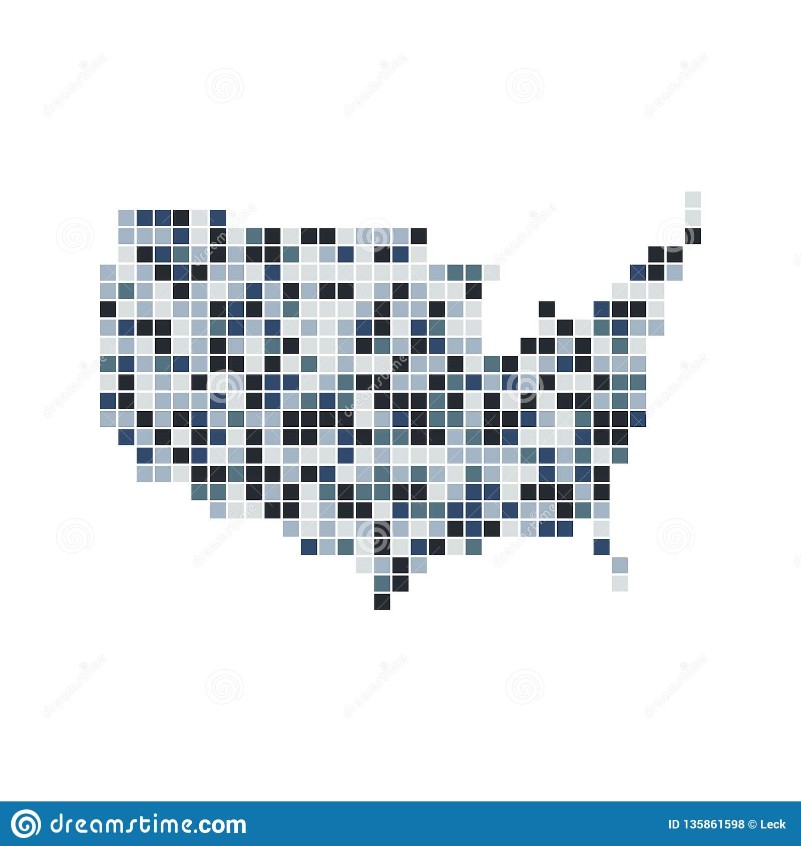 Vector US Map stock vector. Illustration of america - 135861598