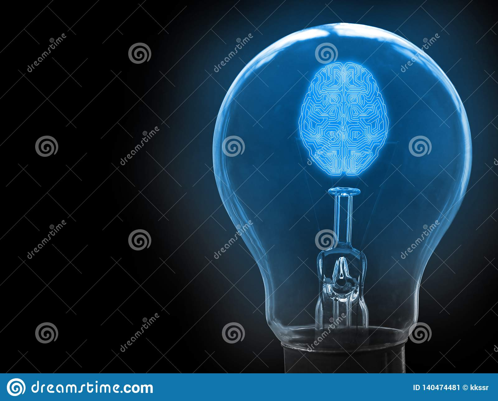 Abstract mechanic artificial intelligence android brain in light bulb. Concept of getting new idea using AI to facilitate.