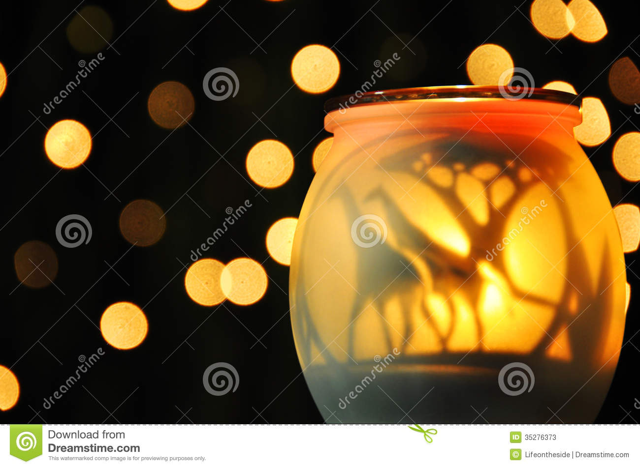 Abstract mellow yellow sparkling night lights
