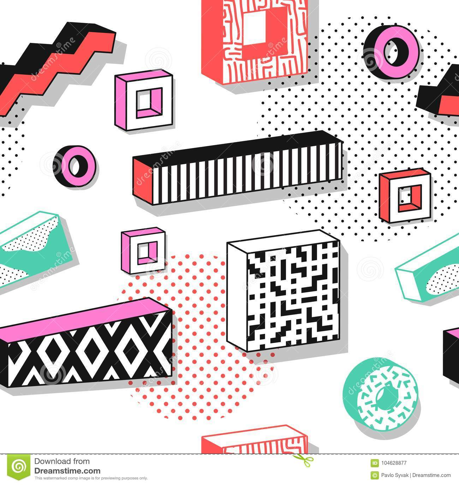 Download Abstract Memphis Seamless Patterns Met 3d Geometrische Vormen Het Ontwerp Van De De Jaren '90stof Van De Manierjaren '80 In Hipst Vector Illustratie - Illustratie bestaande uit element, patroon: 104628877