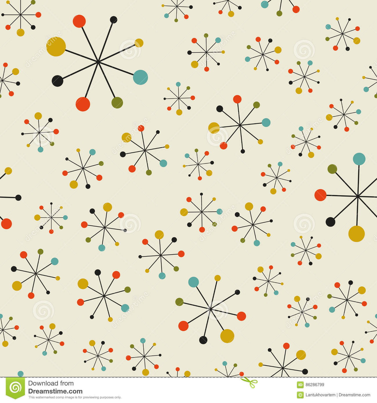 Abstract mid century space pattern