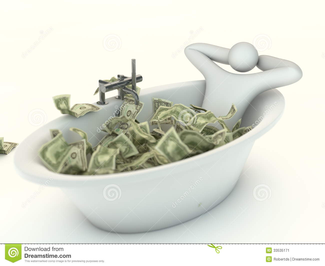 Abstract Millionaire And Money Bath Stock Image Image