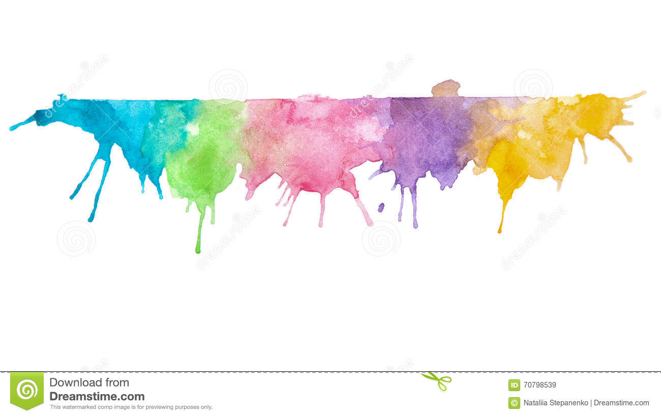 Abstract Mixed Colors Watercolor Painting Background Stock
