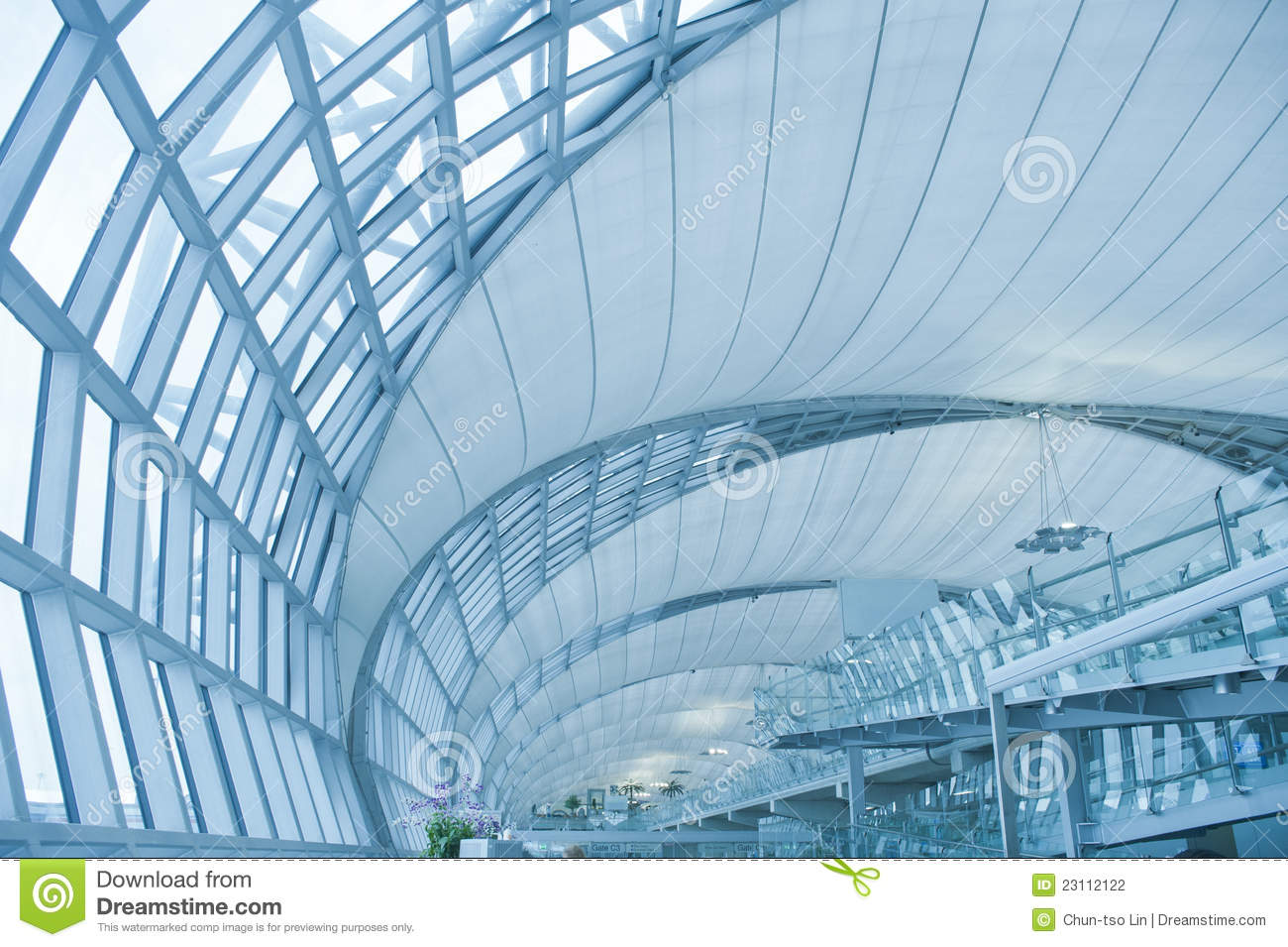 Abstract Modern Architecture In Bangkok Airport Stock