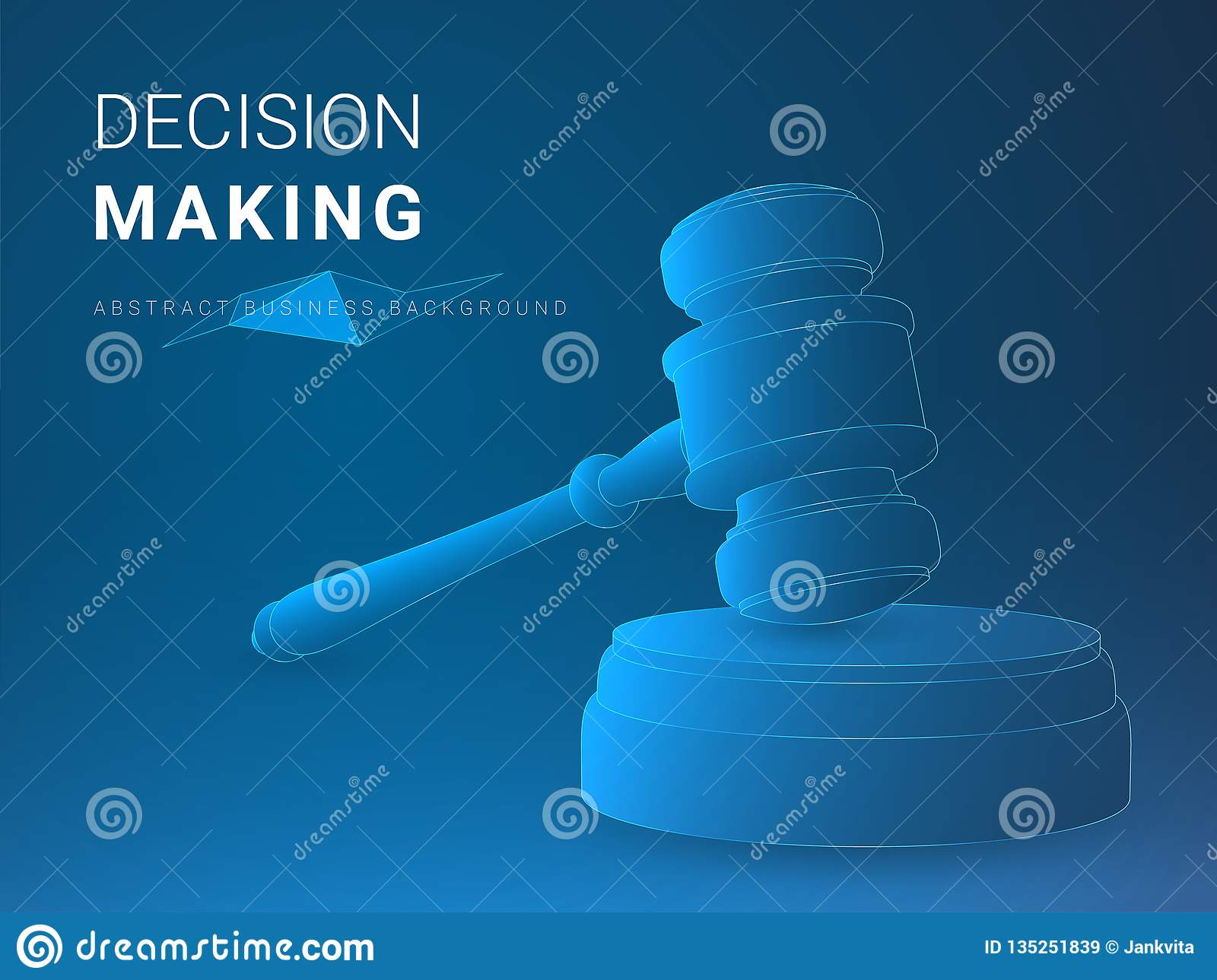 Abstract modern business background vector depicting decision making in shape of a jury hammer on blue background