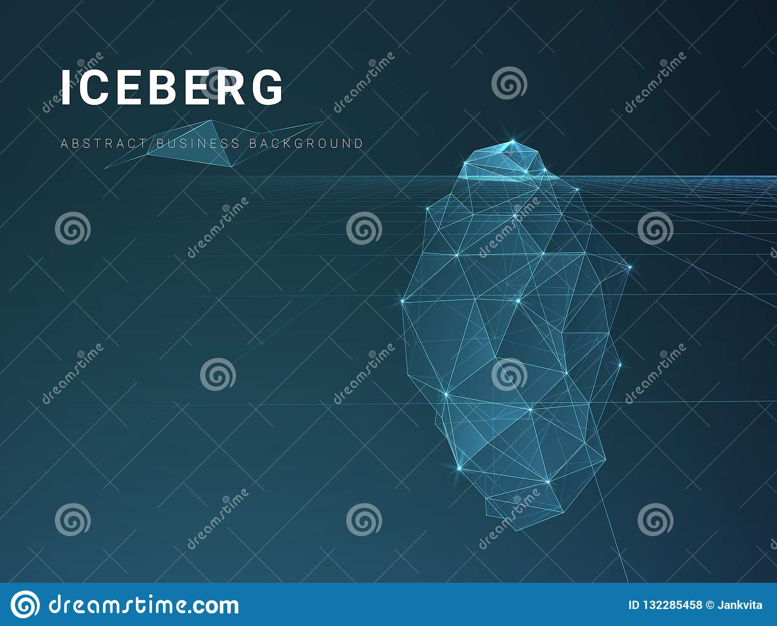Abstract modern business background vector with stars and lines in shape of an iceberg on blue background