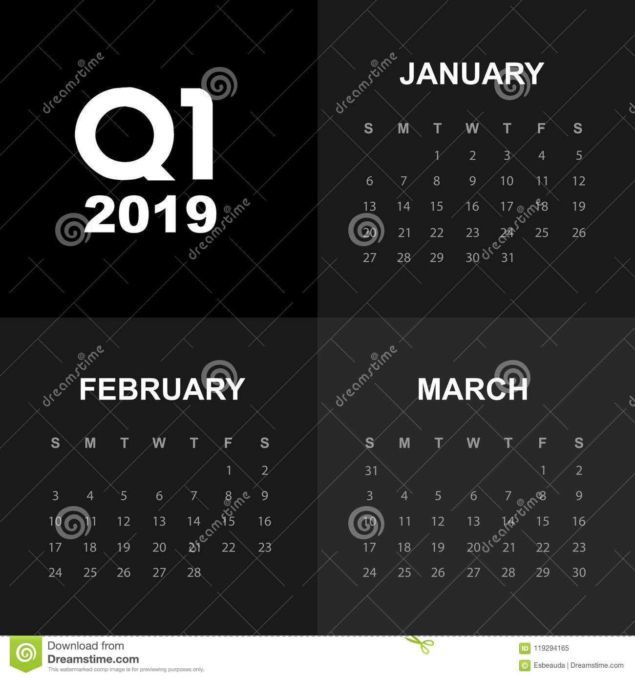 First Quarter Calendar 2019 First Quarter Of Calendar 2019 Stock Illustration   Illustration