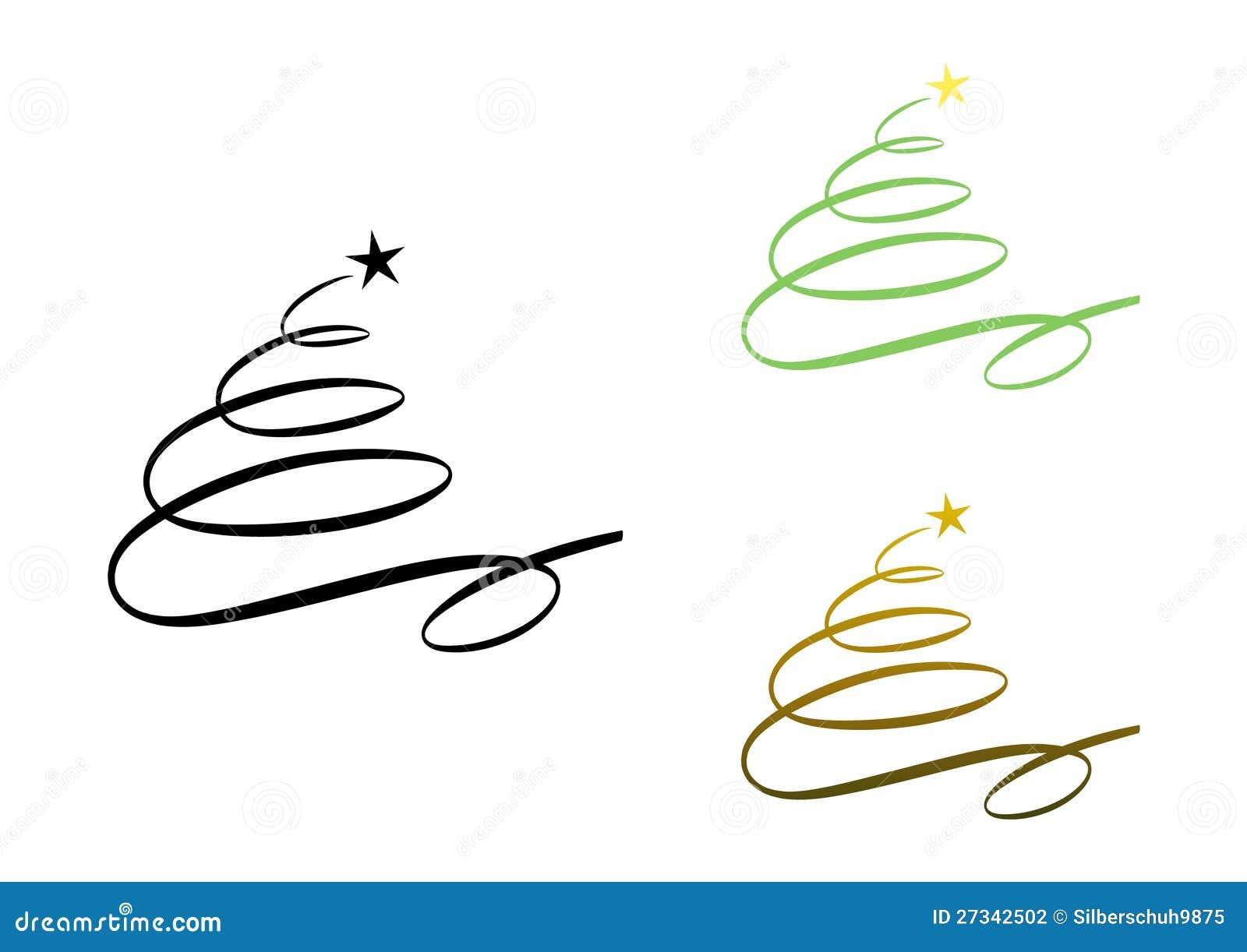 Abstract modern christmas tree set stock photography
