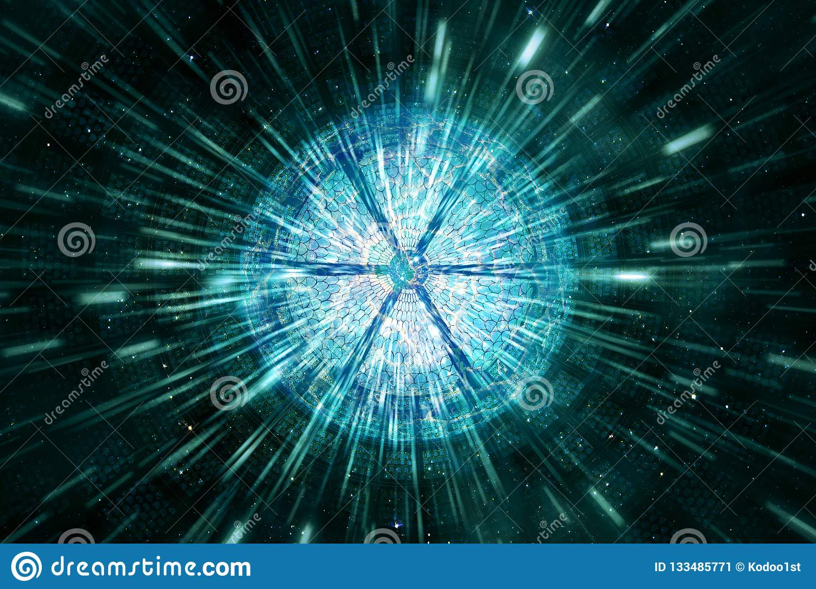 Abstract Modern Digital Round Sliced Shape About To Explode Artwork In A Speeding Beams Of Light Background