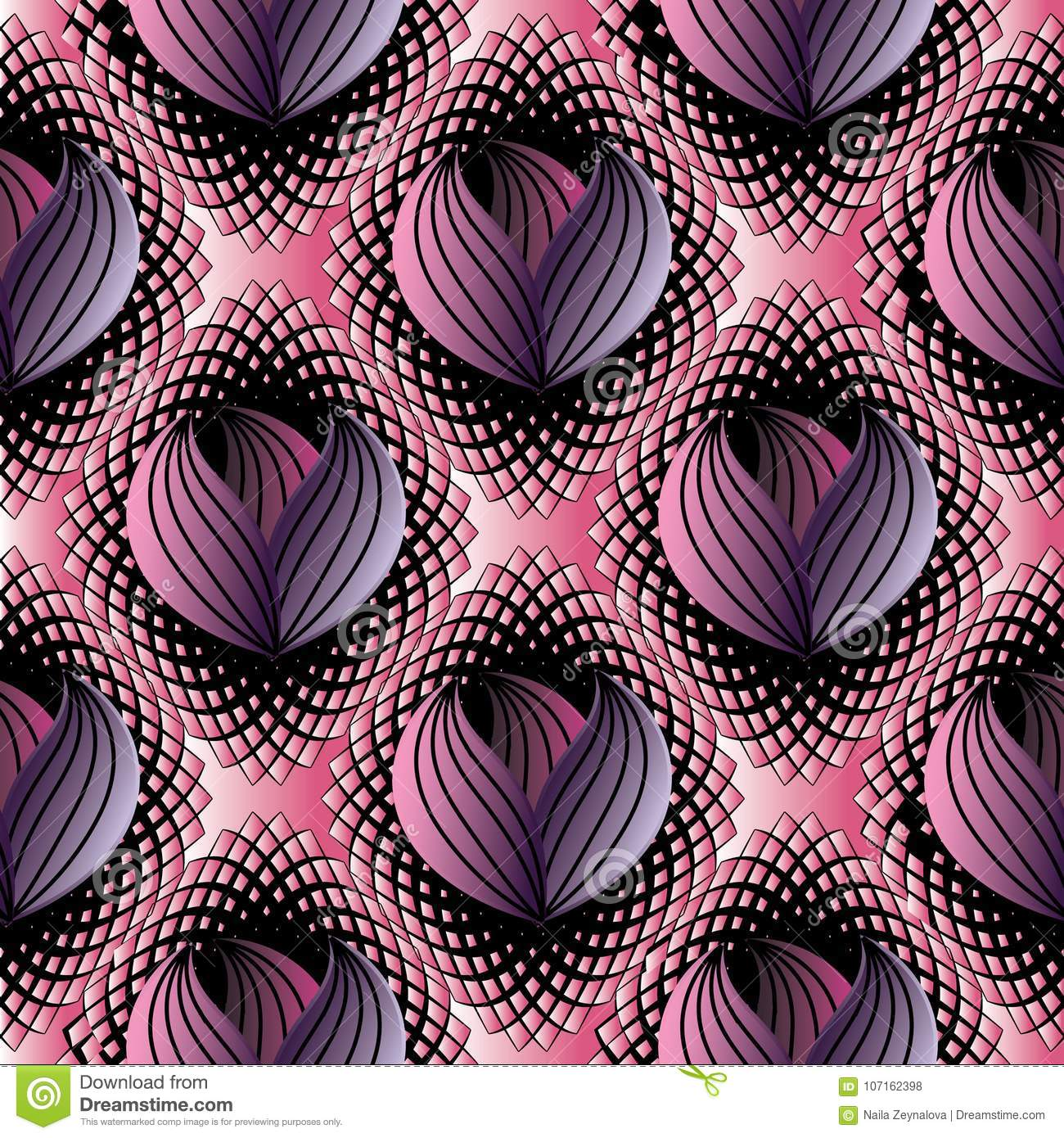 Abstract Modern Floral Seamless Pattern Black Pink Halftone