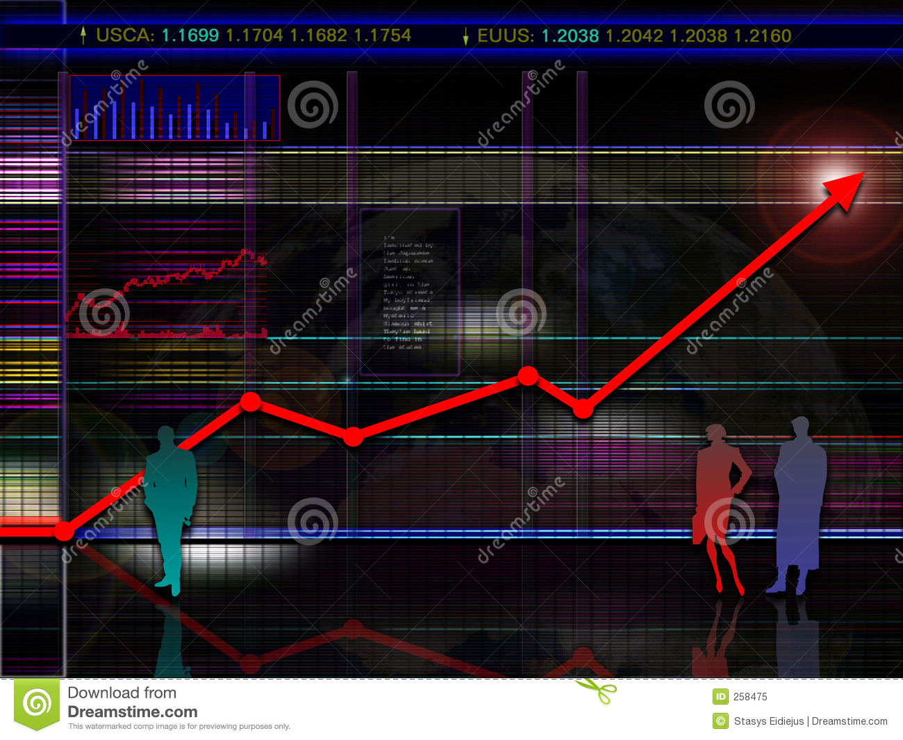 Abstract modern and/or futuristic stock and market chart scenario