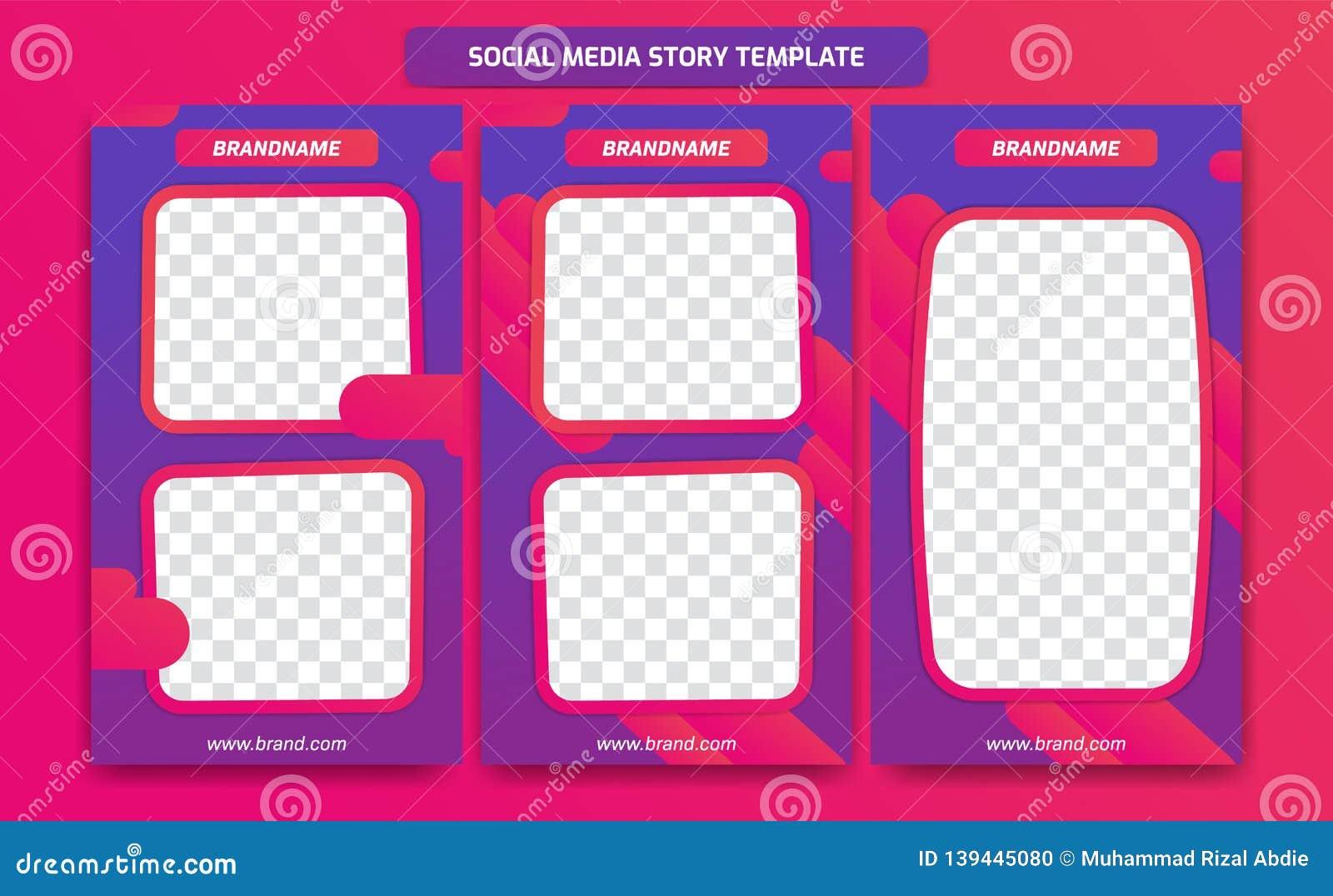 Abstract in modern sociaal media het malplaatjeontwerp van het verhaalkader met abstracte vloeibare gradiënt van purpere violette
