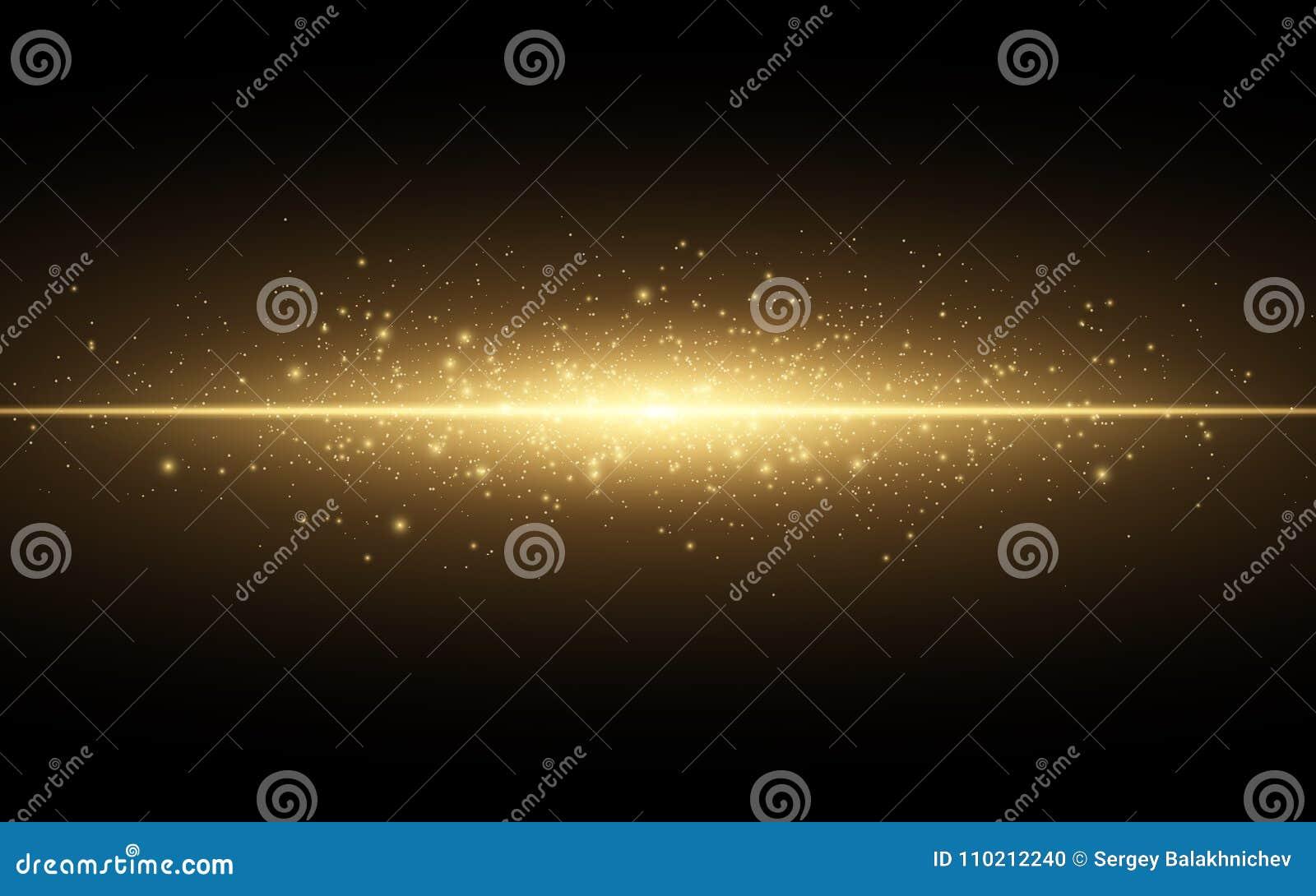 Abstract modieus lichteffect voor een zwarte achtergrond Gouden gloeiende neonlijn Gouden lichtgevend stof en glans Flitslicht lu