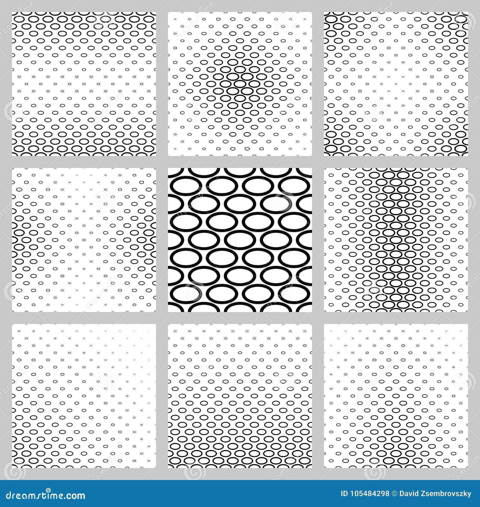 Monochrome Ellipse Pattern Background Design Set Stock Vector ...