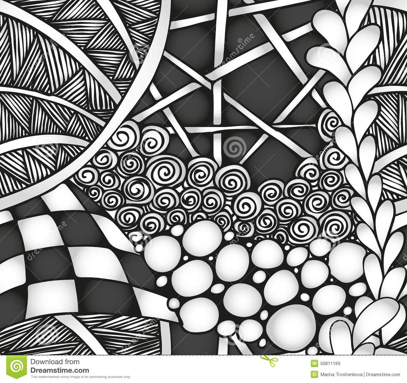 abstract monochrome zentangle seamless pattern