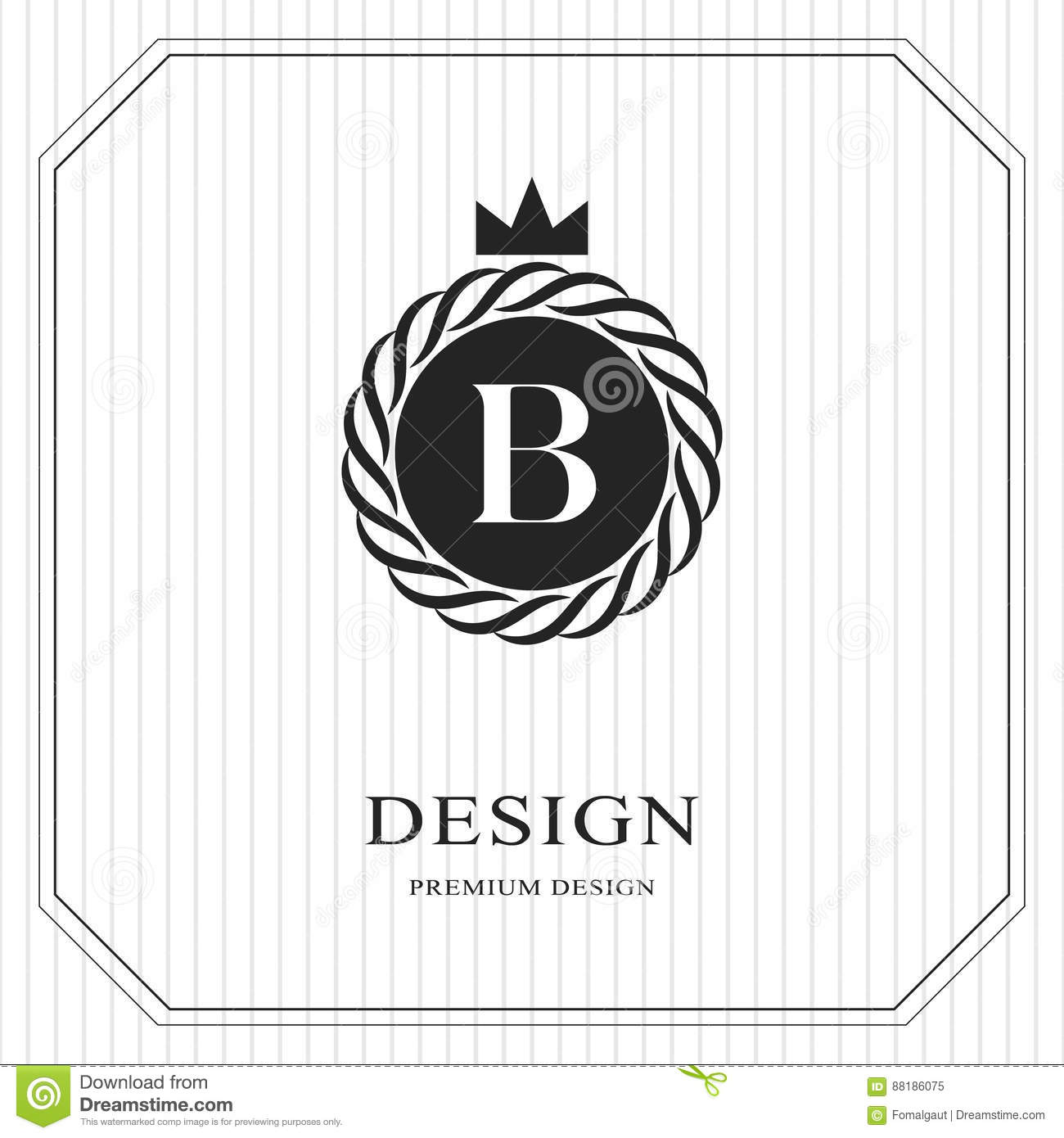 abstract monogram round template linear seamless pattern modern