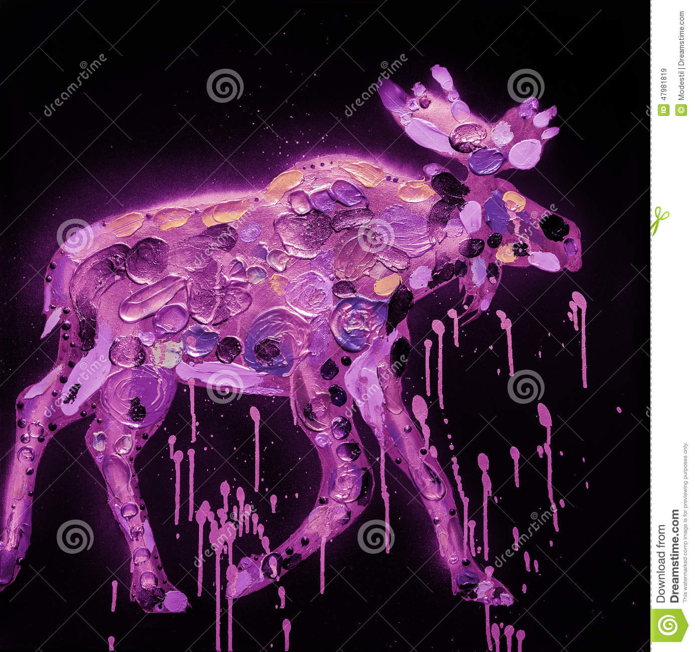 abstract moose painting stock photo image 47981819