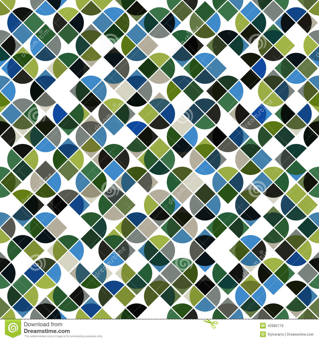 Abstract Mosaic Retro Seamless Pattern In Green And Blue