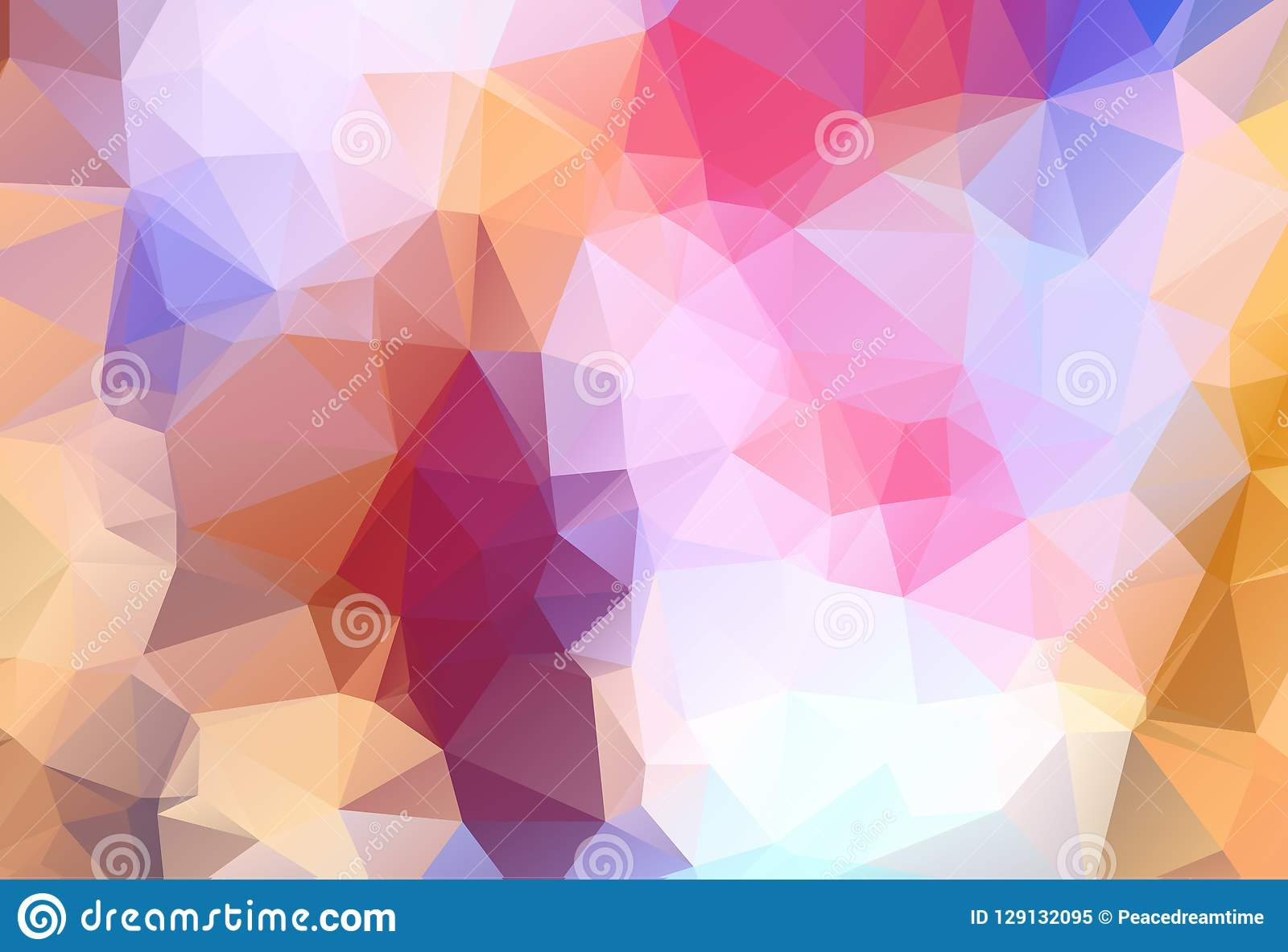 Abstract Multicolor blue, yellow, orange geometric rumpled triangular low poly style gradient illustration graphic background. Vec