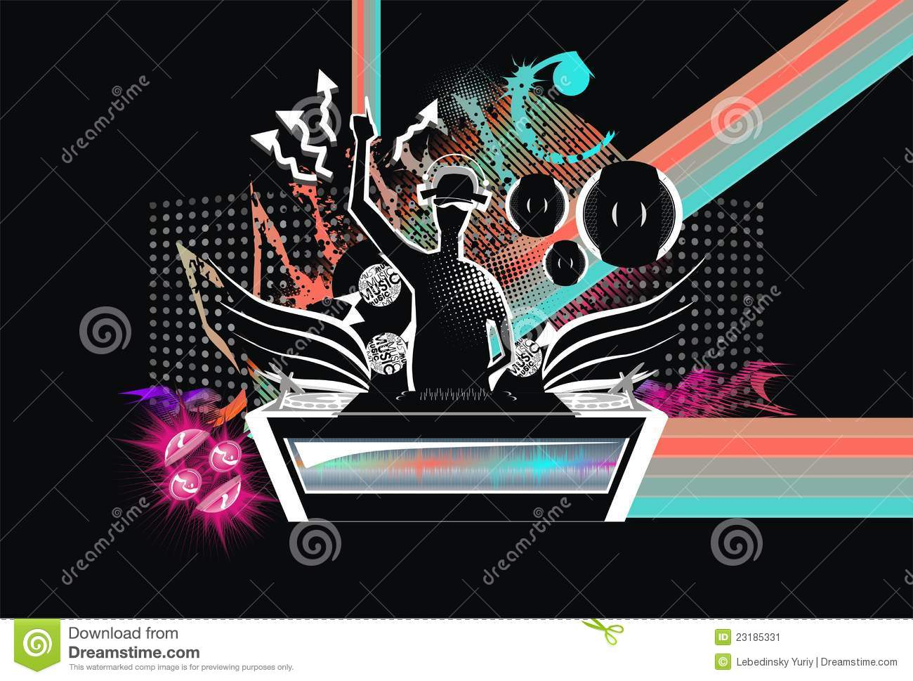 Silhouette Dance Music Abstract Background: Abstract; Art; Background; Music; Dj; Silhouette Vector