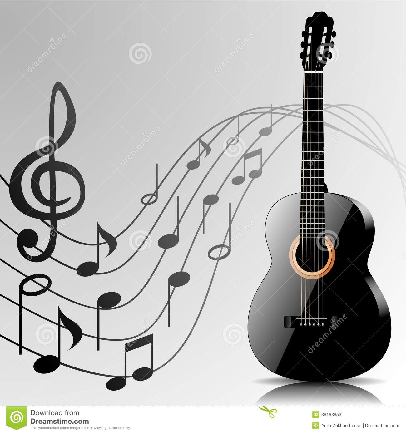 abstract music background with guitar and notes stock photos