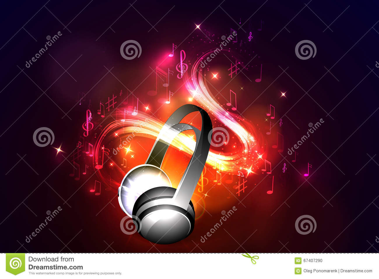 Headphones Music Notes: Abstract Music Background Headphones Stock Illustration