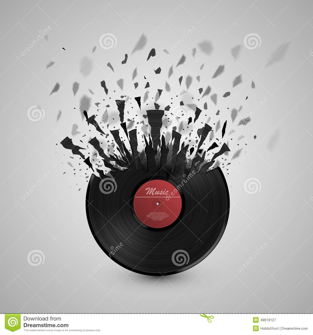Musical Vinyl Wallpaper: Abstract Music Background. Vinyl Disk Explosion Stock
