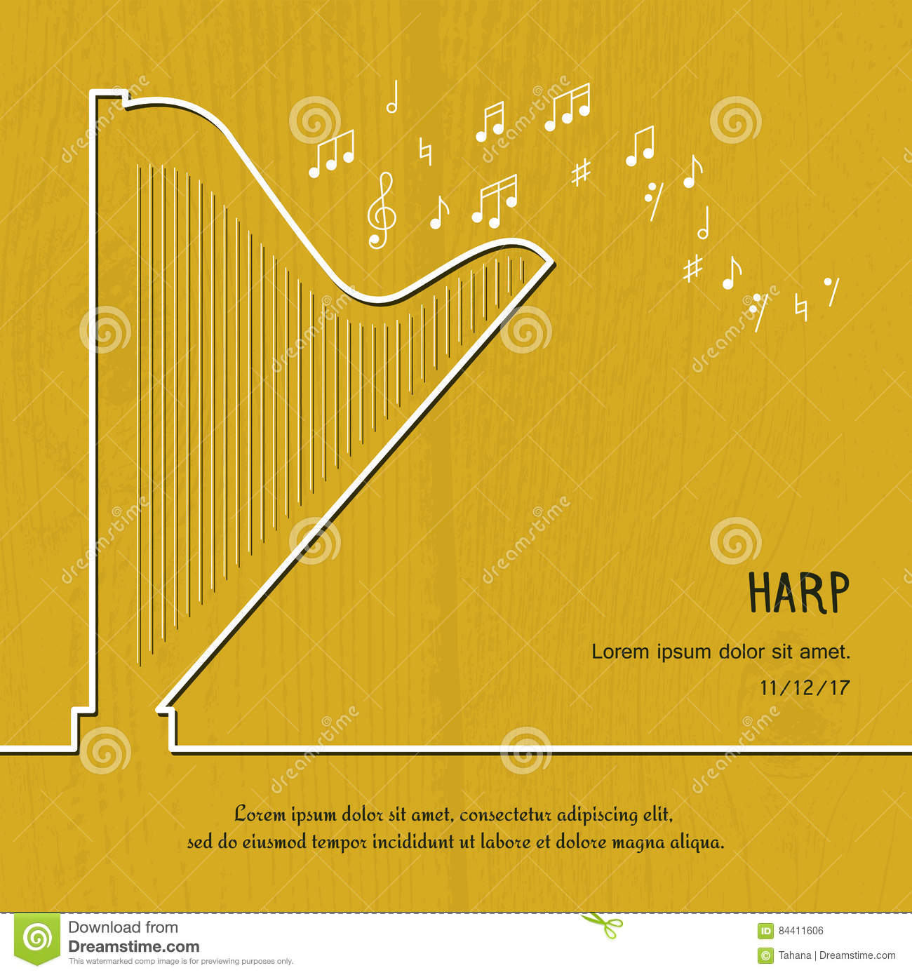 Abstract Music Harp Cover Graphic Vector Poster Illustration