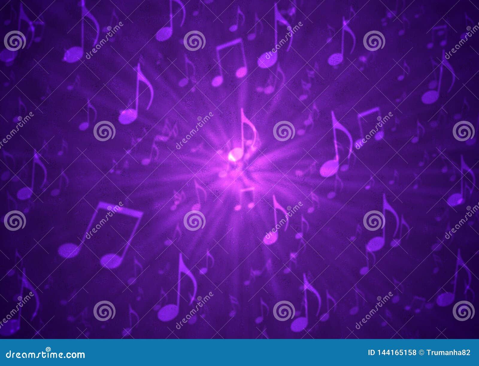 Abstract Music Notes Blast in Blurry Grungy Dark Purple Background