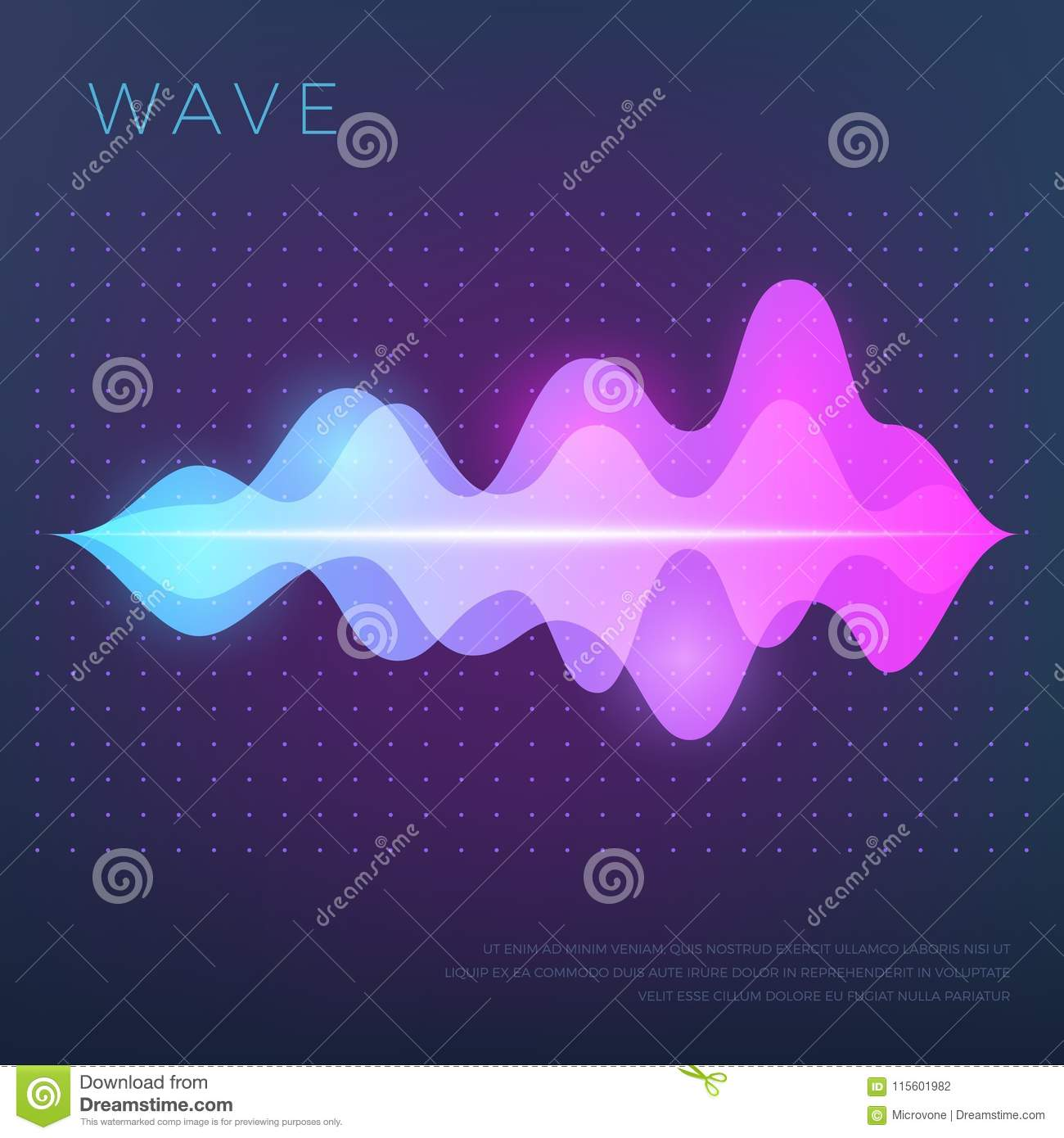 Abstract Music Vector Background With Sound Voice Audio Wave