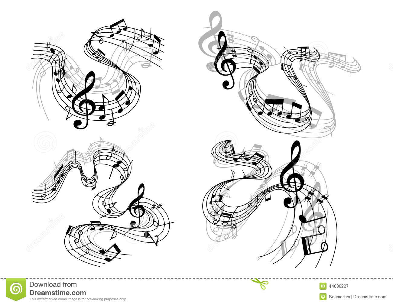 Abstract Music Notes Art: Abstract Musical Compositions Stock Vector