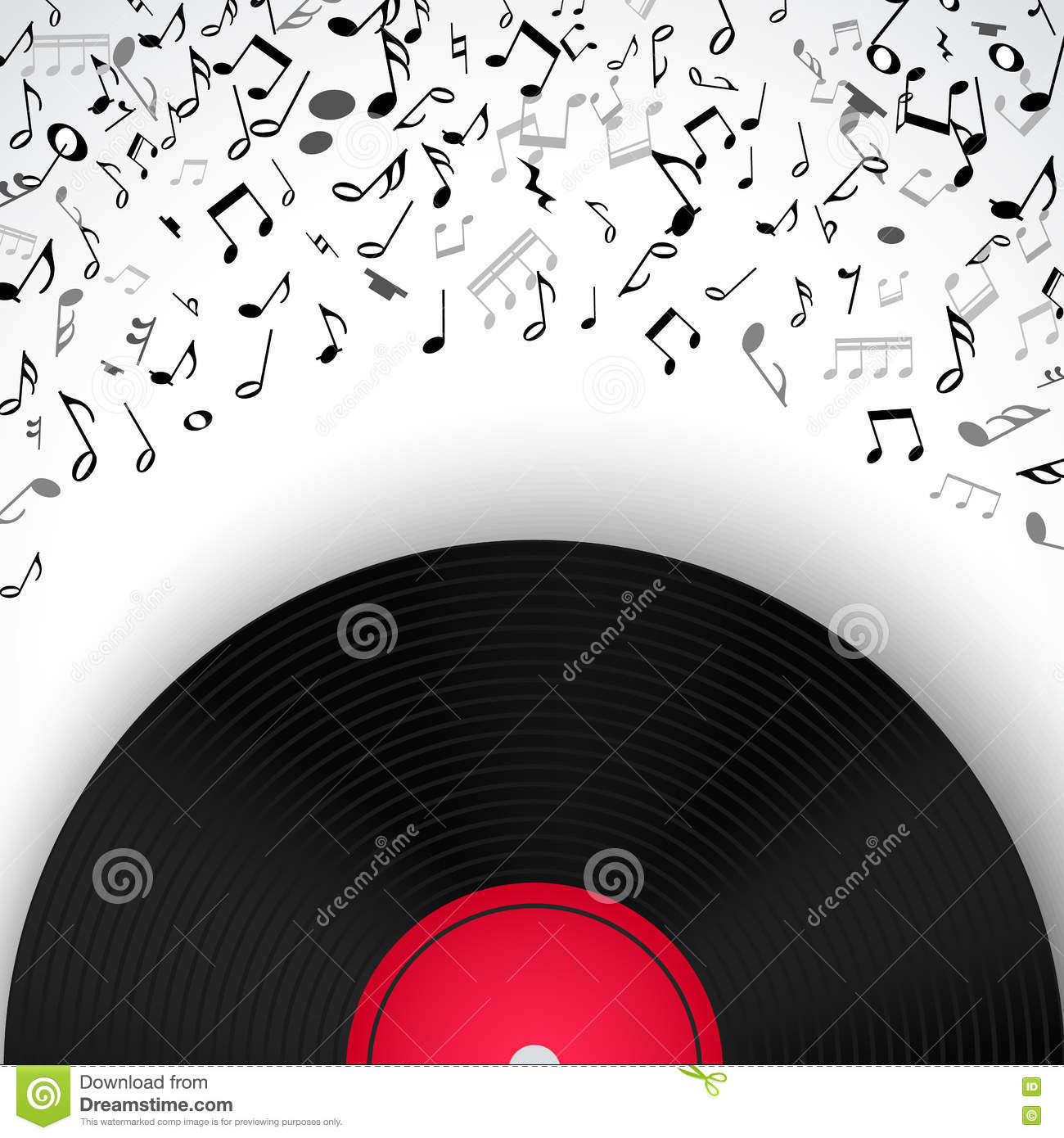 Abstract Musical Frame And Border With Black Notes On White ...