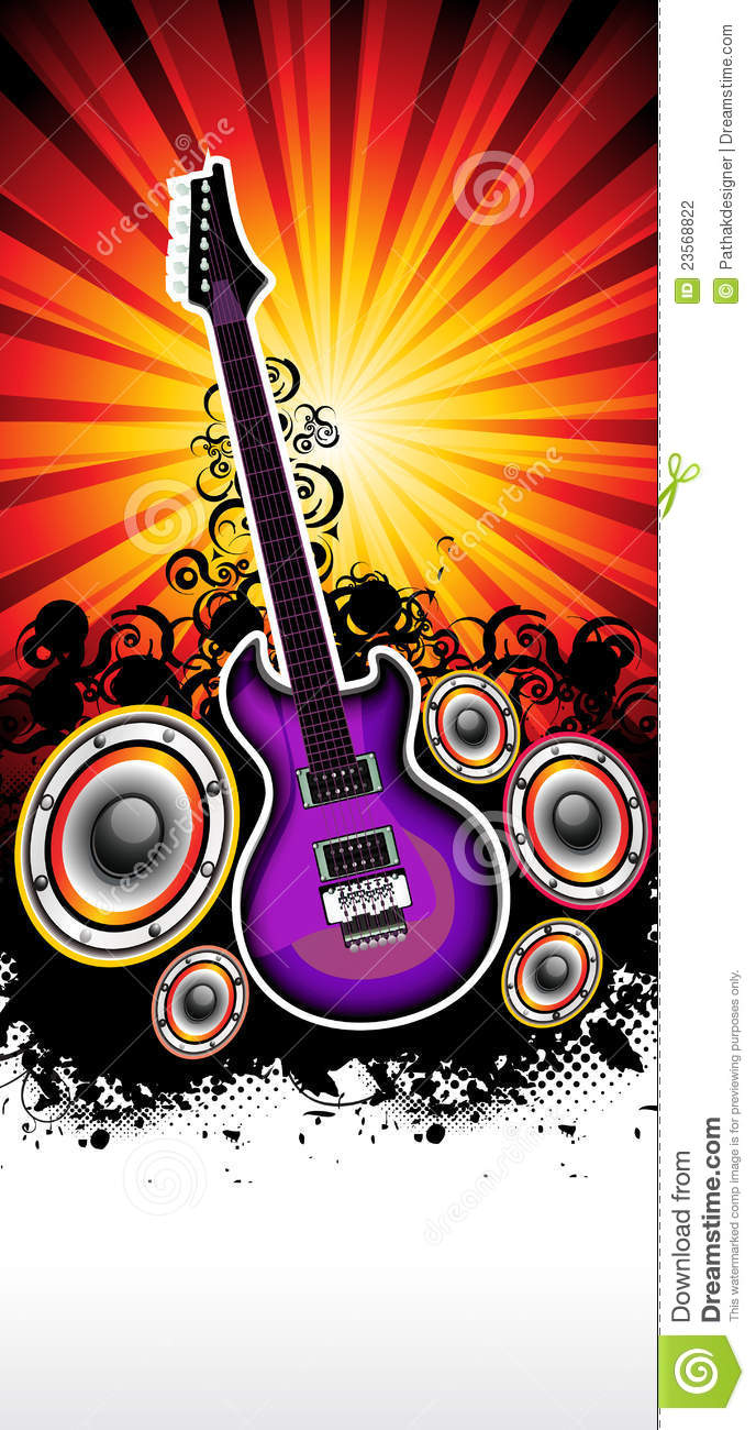 abstract musical guitar rock band concert template stock