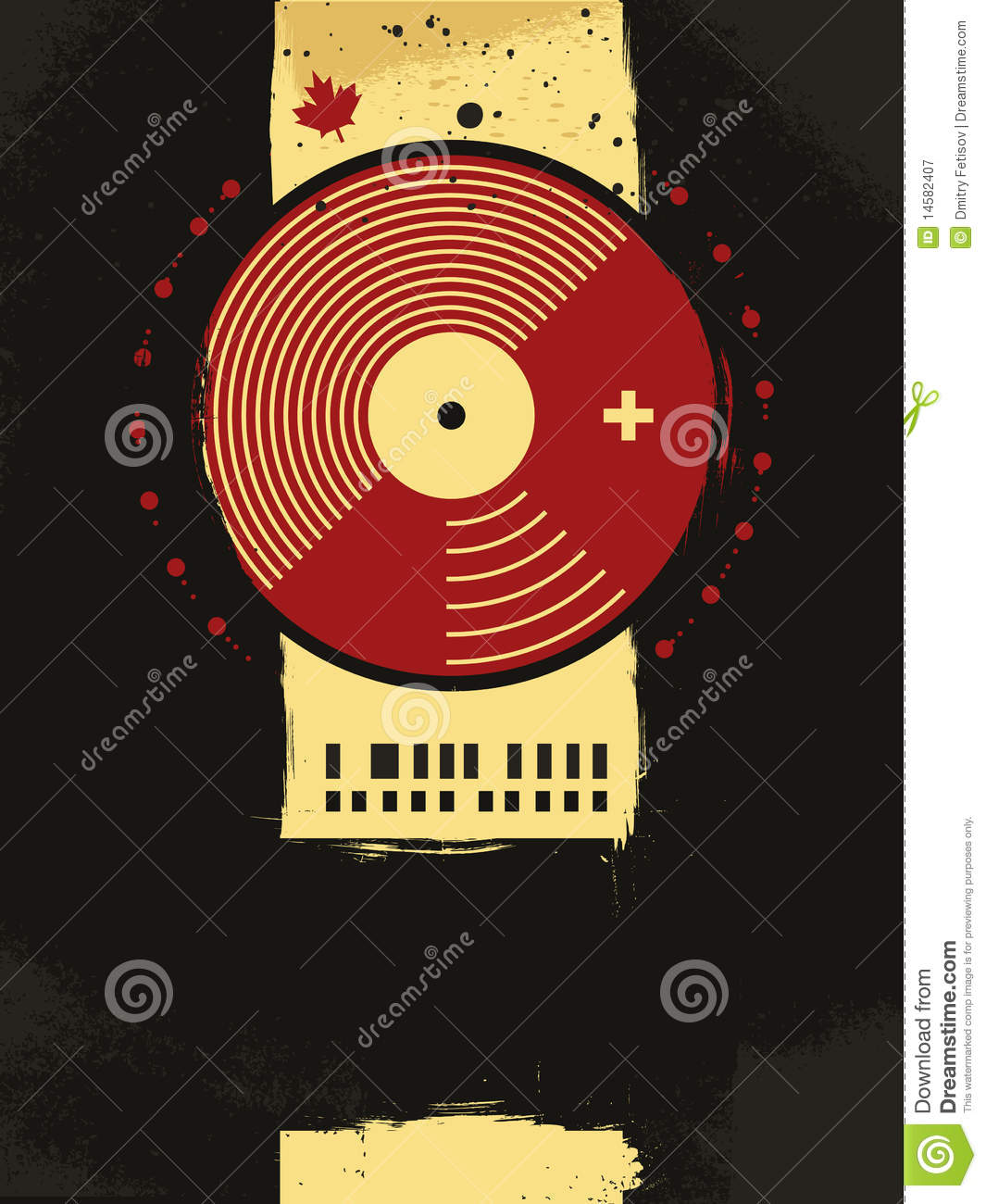 Abstract Musical Poster With Vinyl Circle Stock Vector
