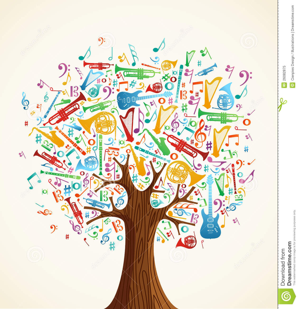 Abstract Musical Tree Made With Instruments Royalty Free Stock Photo ...