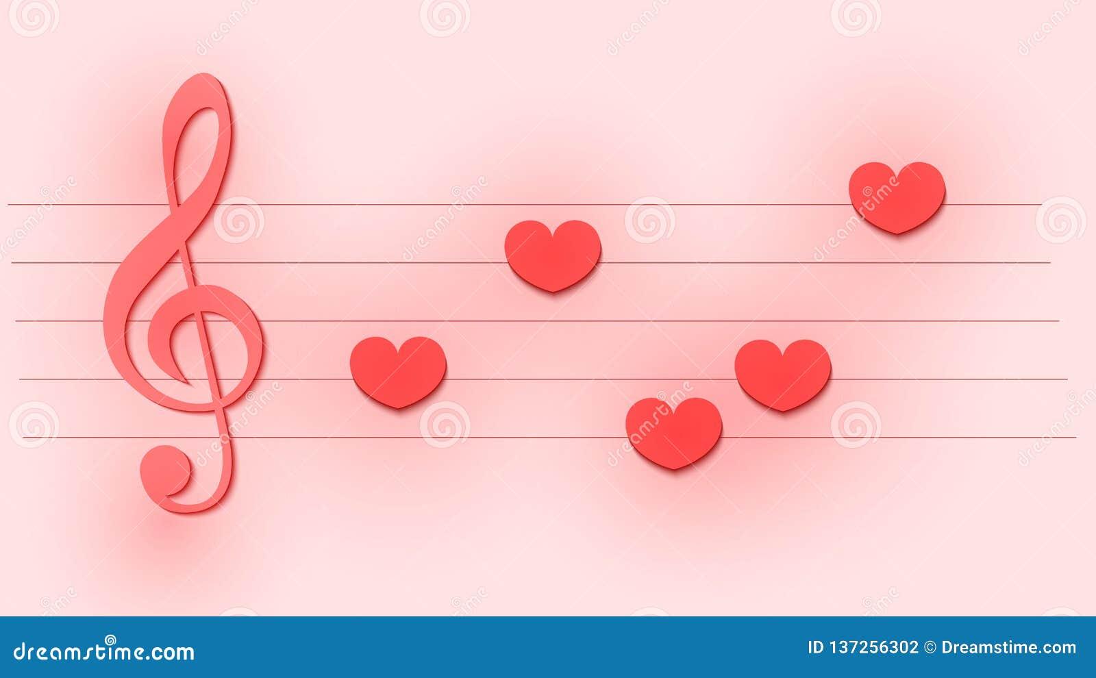 Abstract muzikaal malplaatje met g-sleutel en nota s als harten voor huwelijk of de dagkaart van Valentine