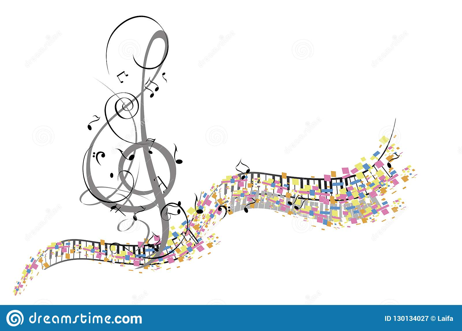 Abstract muzikaal ontwerp met een g-sleutel en muzikale golven