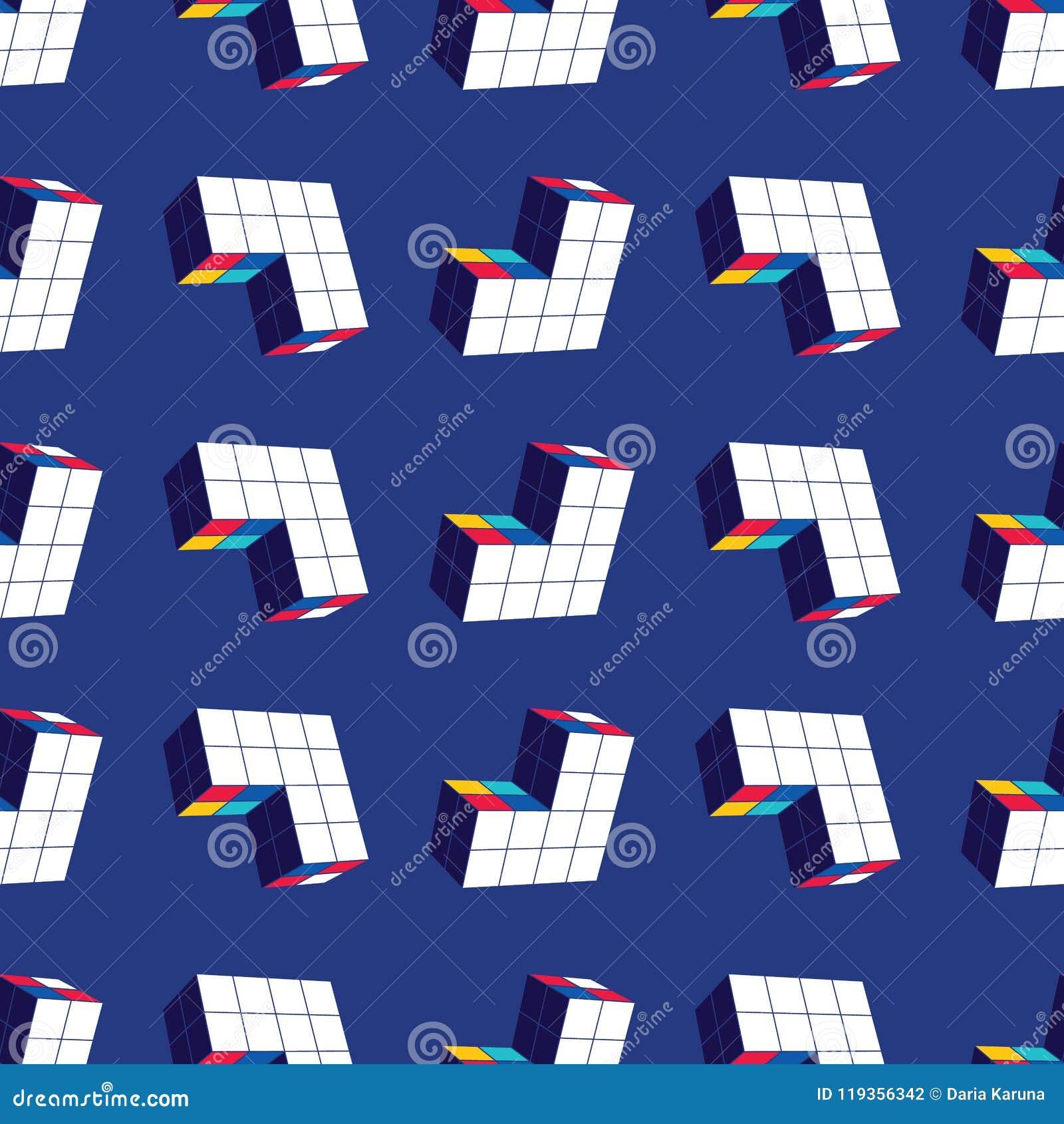Abstract Naadloos Geometrisch Patroon Een driedimensionele vorm in ruimte Ontwerperdetails