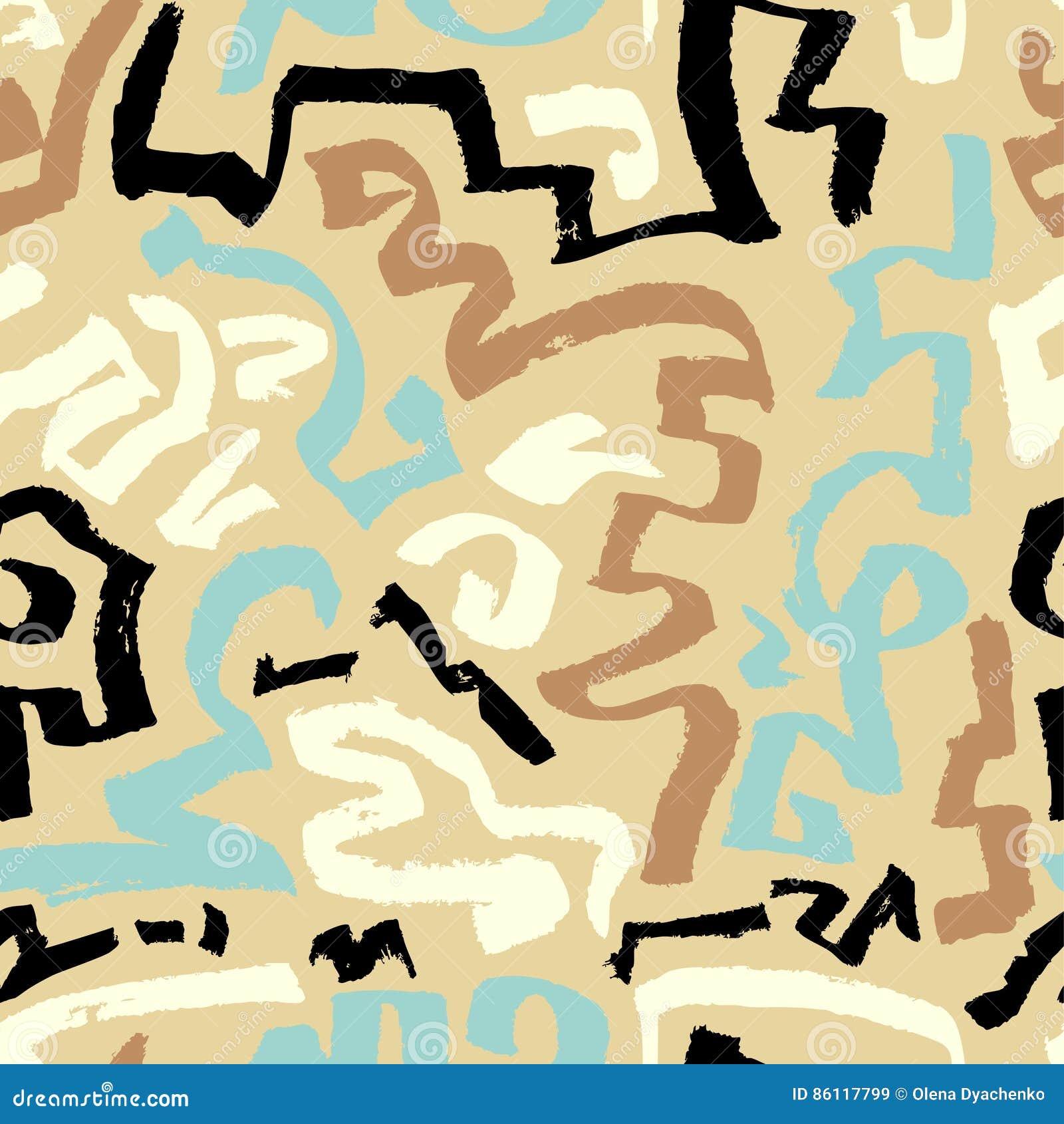 Abstract Naadloos Patroon Hand getrokken artistieke inktkrommen Blac