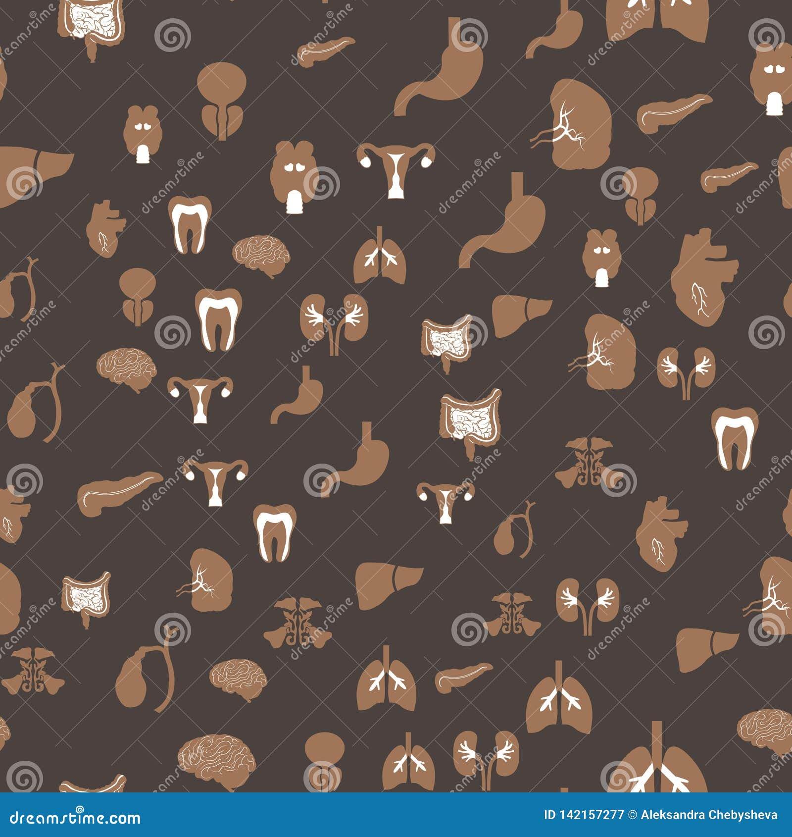 Abstract naadloos patroon met menselijke organenpictogrammen